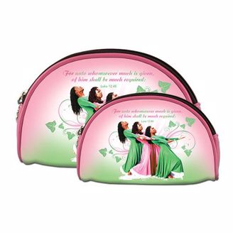 Three African American Women on pink and green makeup bags