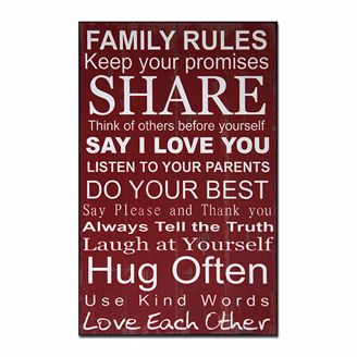 Picture of CHWP29 Family Rules Wall Plaque