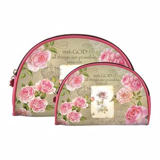 "Roses and ""With God All Things are Possible"" Cosmetic bag set"