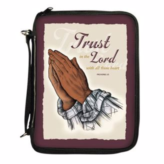Trust in the Lord with All Thine Heart Black Prayer Hands Bible Cover Organizer