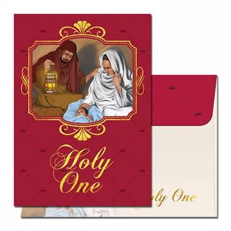 "Black Nativity Scene with Maroon Front and ""Oh Holy One"" Christmas Card"