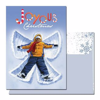 Joyous Christmas Card with African American Boy making a snow angel