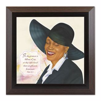 Virtuous Woman in Black with Psalm 1611 Framed Black Art