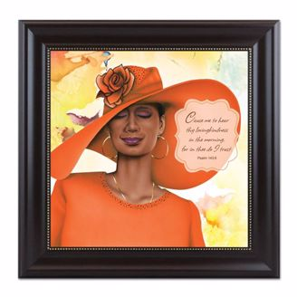 Framed Artwork of African American Woman in Orange Hat and Psalm 1438