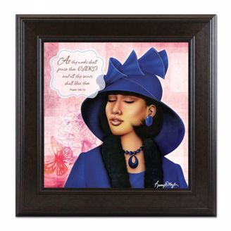 Framed Artwork of African American Virtuous Woman in Blue and Psalm 1438