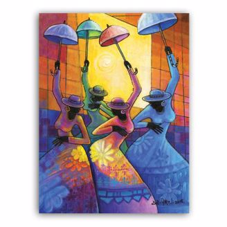 DD Ike Colorful African American Canvas Art of Ladies with Umbrellas