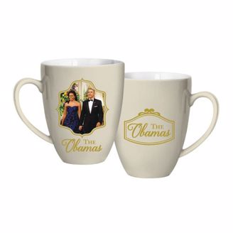 Ivory mug with picture of President & Michelle Obama
