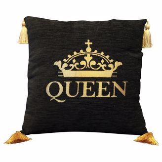 Black Pillow with Gold Grown, QUEEN, and Tassels