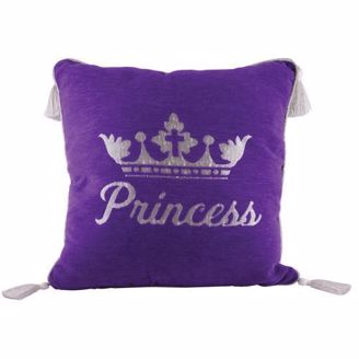 Purple Princess Pillow with Silver Crown and Tassels
