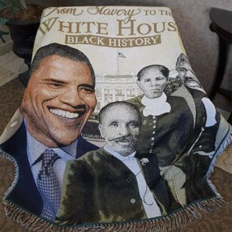 Black History From Slavery to the White House Cotton Throw Tapestry Banket