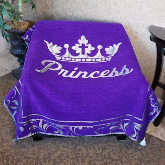 Purple Princess Throw Blanket with Silver Crown