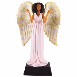 African American Angel Figurine in Pink Dress