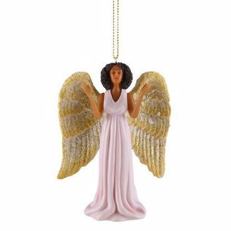 African American Angel in Pink Dress Ornament