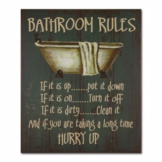 Picture of CHWP06 Bathroom Rules Wall Plaque