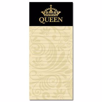 "Black and Yellow Magnetic Notepad with Gold Grown and ""QUEEN"""