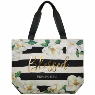 Gold Foil Blessed Magnolia Canvas Handbag
