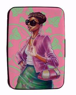 Pink and Green Black Art Card Holder CHC08