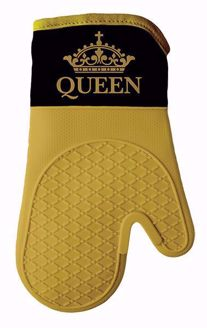 Queen Black and Gold Crown Silicone Oven Mitt Set KM03