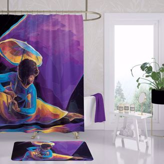 Praise Dancer With Umbrella Black Art Shower Curtain SC13