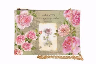 With God Roses Sandy Clough French Rose Chain Purse Clutch SP04
