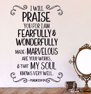 Wonderfully Made Scripture Wall Decal Sticker WD07