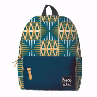 Blue/Yellow Mudcloth Pattern African Print Backpack Set BP01