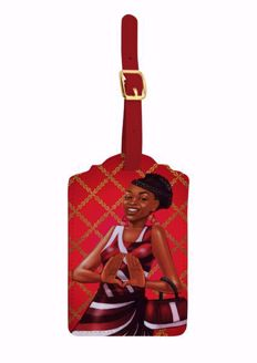 Red and White Black Art Luggage Tag Set of 2 LT09