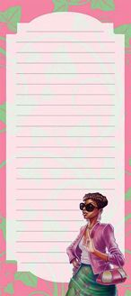 Pink and Green Black Art Magnetic Notepad MNP133