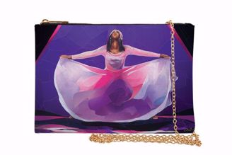 Pink and Purple Praise Dancer Black Art Chain Purse SP08