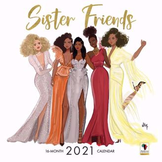 Sister Friends Nicholle Kobi Black Art 2021 Collectible African American Calendar - Cover