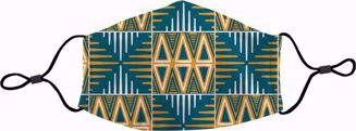 Blue/Yellow Mudcloth Face Mask - Front